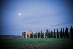 Sunset on San Galgano Abbey, Tuscany Royalty Free Stock Photo