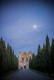 Sunset on San Galgano Abbey, Tuscany Royalty Free Stock Photos