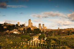 Sunset in San Gimignano. Sunset lights in the Tuscan village San Gimignano royalty free stock images