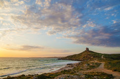 Sunset in San Giovanni di Sinis, Sardinia, Italy Stock Image