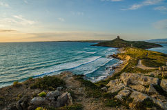 Sunset in San Giovanni di Sinis, Sardinia Royalty Free Stock Photos
