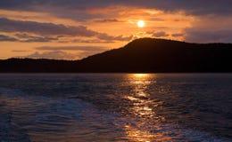 Sunset in San Juan Islands, Washington State. Taken from a ferry traveling the San Juan Islands in Washington State Royalty Free Stock Photography
