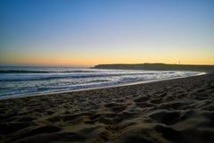 Sunset on the sand beach in Santa Cruz Royalty Free Stock Photography