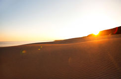 Sunset in sand desert, Cyprus Stock Photo