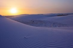 Sunset Sand Dune. The evening sun over the White Sands National Monument, New Mexico, USA royalty free stock image