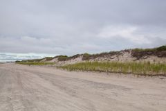 Sunset in the sand dunes beach on the Cape Cod National Seashore. On the Atlantic Ocean, USA Stock Photo