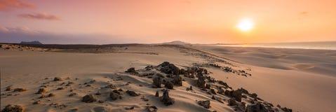 Sunset on sand dunes  in Chaves beach Praia de Chaves in Boavist Stock Image