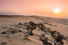 Sunset on sand dunes  in Chaves beach Praia de Chaves in Boavist Stock Images