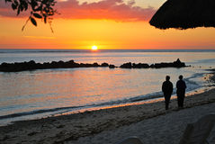 Sunset at Sands Resort mauritius Stock Image
