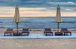 Sunset at sandy beach of Jurmala Stock Photos