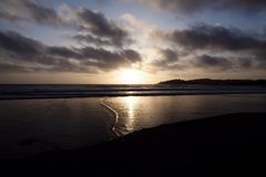 Sunset From Sandy Beach Point Reyes California Royalty Free Stock Images