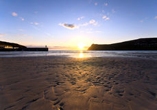 Sunset on Sandy Beach at Port Erin - Isle of Man Stock Images