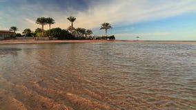 Sunset on the sandy beach. Red Sea,. Egypt stock footage