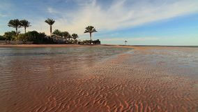 Sunset on the sandy beach. Red Sea, stock video footage