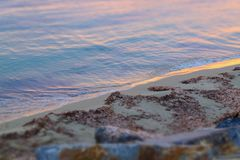 Sunset on a sandy beach, small waves. stock images
