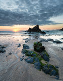 Sunset on a Sandy Cove Stock Photo