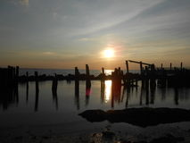 Sunset on Sandy Hook Beach. Stock Images
