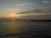 Sunset on Sandy Hook Beach. Royalty Free Stock Photo