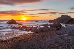 Sunset at Sandymouth Beach Cornwall Stock Photography