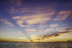 Sunset in Sanibel Island. In Florida with Rays of Lights stock photography