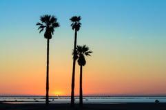 Sunset Sanlucar de Barrameda,卡迪士 免版税库存照片