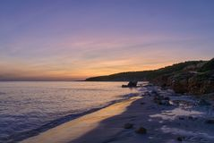 Sunset in sant tomas, minorca, spain Royalty Free Stock Photos