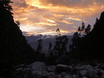 Sunset at the santa cruz trekking in the valley Stock Image
