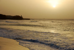 Sunset at Santa Maria - Sal Island - Cape Verde. Beautiful beach in Santa Maria, Sal Island, Cape Verde. Dawn, sandy beach, ocean and sky. Holidays with Stock Image