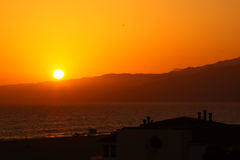 Sunset at Santa Monica Beach Stock Image