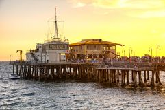 Sunset Santa Monica Pier california stock photography