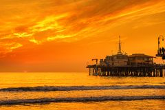 Sunset from Santa Monica Pier in Los Angeles. Scenic sunset from Santa Monica Pier in Los Angeles, California Stock Photography
