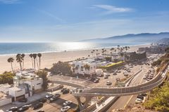 Sunset in Santa Monica royalty free stock photography