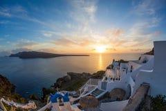 Sunset in Santorini, Greece. Shooting fish-eye Royalty Free Stock Photo