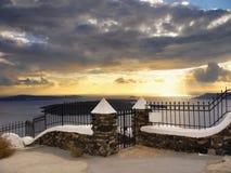 Sunset Santorini Greece. Sunset view from Santorini island, Greece Stock Photo
