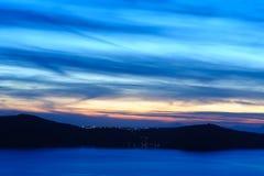 Sunset at Santorini, Greece. View to caldera sea. Stock Photography