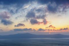 Sunset at Santorini, Greece. View to caldera sea. Stock Photos