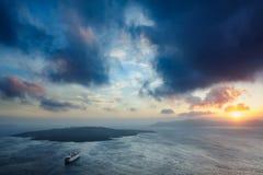 Sunset at Santorini, Greece. View to caldera sea. Stock Images