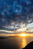 Sunset at Santorini, Greece. View to caldera sea. Stock Image