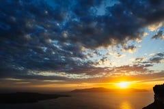 Sunset at Santorini, Greece. View to caldera sea. Stock Photo
