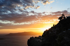 Sunset at Santorini, Greece. View to caldera sea. Royalty Free Stock Image