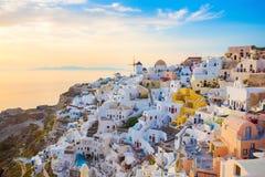 Sunset in Santorini island, Greece Stock Photography