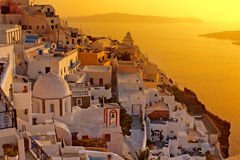 Sunset at Santorini island , Greek church Royalty Free Stock Photos