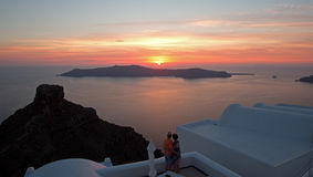 Sunset on Santorini Island Stock Photography