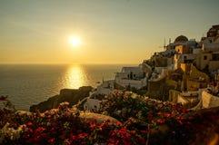 Sunset in Santorini. Sunset in Oia, Santorini, Greece stock photos