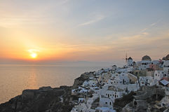Sunset at Santorini Stock Images