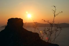 Sunset on Santorini Royalty Free Stock Photography