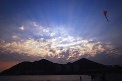 Sunset in Sanya. Of China.,beatiful sun lay and clouds..also with a red kite Stock Photo