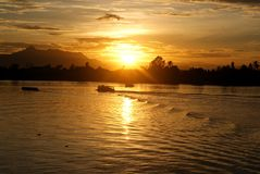 Sunset at sarawak river Royalty Free Stock Photo