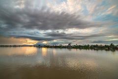 Sunset on Sarawak River, Borneo Stock Photo