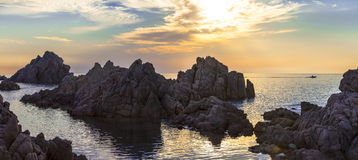 Sunset in Sardegna. Tranquil sunset scenery in Sardegna island royalty free stock photography